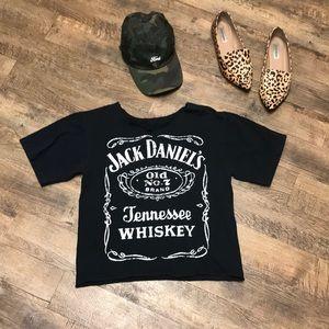 Jack Daniels Whiskey Black Graphic Print Crop Top